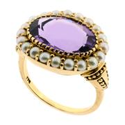 Sale 8991 - Lot 400 - A 9CT GOLD AMETHYST AND SEED PEARL RING IN THE GEORGIAN STYLE; 15 x 9mm amethyst surrounded by half pearls, size L, wt. 5.2g.