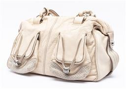 Sale 9168J - Lot 333 - A MIMCO CREAM LEATHER SATCHEL RING BAG; gained leather with twin front pockets with decorative pierced suede and silver tone rings t...