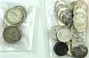 Sale 8299C - Lot 534 - A GROUP OF AUSTRALIAN THREEPENCE (56) & SIXPENCE (10) 3d - various dates 1918 - 1964, including a 1959 variety, die crack through S...