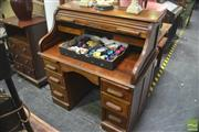 Sale 8323 - Lot 1083 - Edwardian Oak Double Pedestal Roll Top Desk