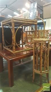 Sale 8447 - Lot 1053 - Tiger Cane x 3 inc Plant Stand, Magazine Rack and Occasional Table