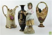 Sale 8505 - Lot 20 - Black Hand Painted Arabian Vase Together With Floral Example, Bisque Figure And Majolica Vase (Chipped To Bottom)