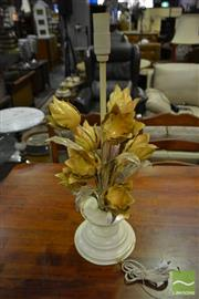 Sale 8520 - Lot 1086 - Pair of Metal Floral Themed Table Lamp Bases