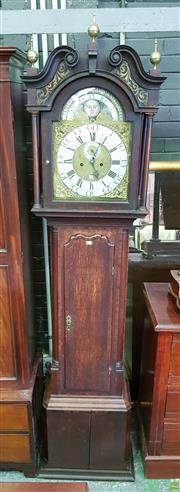 Sale 8617 - Lot 1048 - Good George III Oak & Mahogany Longcase Clock, signed James Sandiford (c1725-1775), Manchester & in his typical style, with two trai...