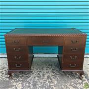 Sale 8649R - Lot 182 - Leather Topped 9 Drawer Timber Desk with Gilt Border, Pie Crust Edge and Bronze Handles (A/F to Leather Top Right Corner) (H: 77.5 W...
