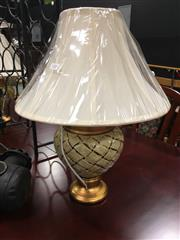 Sale 8740 - Lot 1505 - Pair of Gold & Cream Basket Pattern Table Lamps (3851)