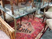 Sale 8904 - Lot 1094 - Glass Top Table with Gilt Trestle Base