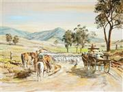 Sale 9021 - Lot 569 - John Cornwell (1930 - ) - Drovers with the Rig on the Road 56 x 75 cm (frame: 71 x 91 x 3 cm)