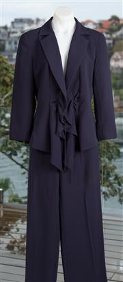 Sale 9044H - Lot 13 - A Carla Zampatti Navy pattern suit with tie front jacket and wide leg pants, both size 10