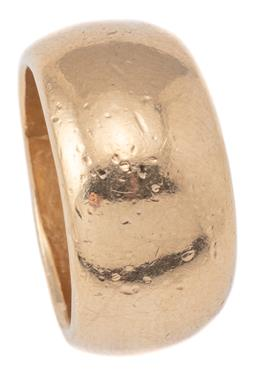 Sale 9124 - Lot 450 - A 9CT GOLD RING; 11.6mm wide tapered dome ring (dents), size O, wt. 13.99g.