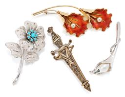 Sale 9145 - Lot 312 - THREE FLORAL BROOCHES AND ANOTHER; Aksel Holmsen orange enamelled silver gilt twin lilly brooch stamped Norway Sterling and makers m...