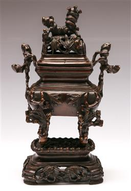 Sale 9136 - Lot 250 - A three piece Chinese bronze censer on stand (H 26cm)