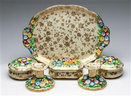 Sale 9168 - Lot 432 - A Tuscan ceramic suite inc tray (L:30cm) three lidded containers (L:12cm) and a pair of candle holders (H:7cm)