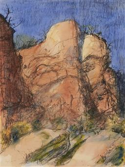 Sale 9178 - Lot 599 - LLOYD REES (1895 - 1988) Timeless Cliffs II, 1980 hand-coloured lithograph, ed. 27/80 66 x 50 cm (frame: 98 x 78 x 3 cm) signed date...