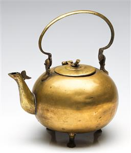 Sale 9253 - Lot 172 - A large brass apple form tri footed teapot on (H:17.5cm)