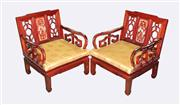 Sale 8123 - Lot 67 - Rosewood Pair of Oriental Armchairs with Shell Inlay