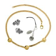 Sale 8173F - Lot 326 - VERACE GILT METAL NECKLACE, GUCCI TRINKET AND PAIR OF SILVER EARRINGS; necklace 42cm.