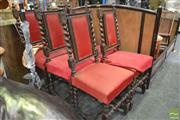 Sale 8262 - Lot 1045 - Set of Six 19th Century Carved Oak Chairs, with barley twist backs and legs, upholstered in red fabric (one back damaged)