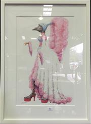 Sale 8222 - Lot 81 - Artist Unknown, Emu in Show Wear, image size 49 x 32cm, signed lower right Provenance; Designed for Fox Backlot