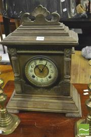 Sale 8359 - Lot 1074 - Edwardian Oak Ansonia Mantle Clock Sharon with enamelled dial and dual spring movement (Key & Pendulum in Office)