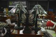 Sale 8338 - Lot 1612 - Pair Of Leadlight shade Lamps