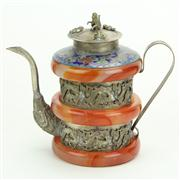 Sale 8393B - Lot 17 - Oriental Cloisonne & Stone Coffee Pot