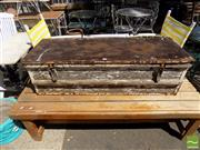 Sale 8472 - Lot 1039 - Timber Trunk with Metal Lid
