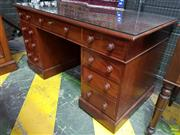 Sale 8617 - Lot 1081 - Victorian Mahogany Double Pedestal Desk, fitted with nine drawers having timber knobs & plinth bases - Key in Office (H: 75 W: 137 D...