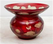 Sale 8644A - Lot 19 - A ruby cased glass vase with flared neck, engraved with cicada and lilypad design, diameter 18cm.