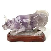 Sale 8758 - Lot 371 - Single Amethyst Crystal Carved Oxen