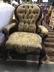 Sale 8782 - Lot 1395 - Mahogany Upholstered Grandfather Chair