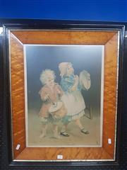 Sale 8836 - Lot 2051 - C18th Chromolithograph in antique frame, frame size: 68 x 66cm