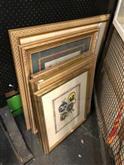 Sale 8856 - Lot 2045 - Group of Five ornately framed Botanical Prints (some hand-coloured) together with a Town Scene.