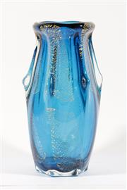 Sale 9015 - Lot 56 - A Large Blue Art Glass Vase Decorated with Gold Flakes (H 32cm, Small Chip to Base)