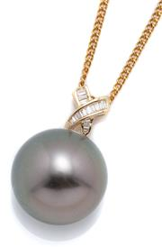 Sale 9046 - Lot 509 - A TAHITIAN PEARL AND DIAMOND PENDANT; 14.9mm round cultured pearl of fine colour and lustre on an 18ct gold surmount set with 15 bag...