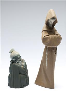Sale 9098 - Lot 319 - Lladro figure of a hooded monk (H34cm) together with a Lladro seated Chinese monk (H17cm)