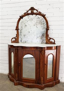 Sale 9102 - Lot 1179 - Victorian Walnut Credenza, with carved high mirror back, white serpentine shaped marble top & three arched mirror panel doors (h:160...