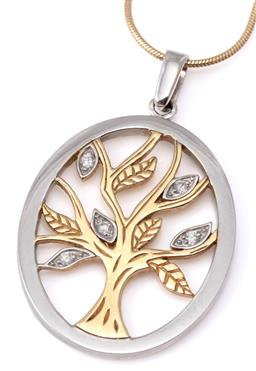 Sale 9124 - Lot 519 - A 9CT TWO TONE GOLD DIAMOND TREE OF LIFE PENDANT ON CHAIN; oval cut out pendant featuring a tree with 5 round brilliant cut diamond...