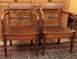 Sale 9120H - Lot 147 - A pair of antique elm bar back elbow chairs, Height of back 78cm, Width 54cm