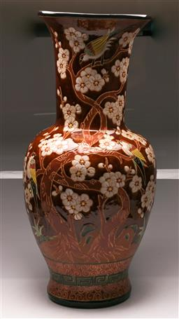 Sale 9119 - Lot 133 - A large brown glazed Chinese baluster vase featuring birds amongst trees (H:80cm)