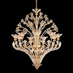 Sale 9140W - Lot 12 - A Schonbek New York Rivendell fifteen light goldtone chandelier with leaf/petals and clear crystals. 76cm diameter x 97cm height ...