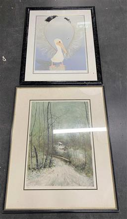 Sale 9176 - Lot 2163A - Artist Unknown (Europe) Cottages in the Forest etching ed. 112/185, together with a collage screenprint of a Pelican