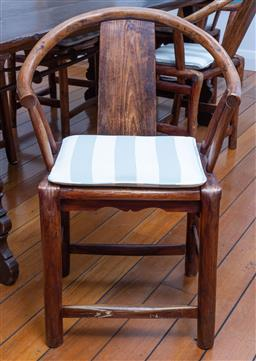 Sale 9191H - Lot 54 - Set of eight Chinese Elm Horseshoe backed dining chairs, H 84 x W 44 cm (approx.)