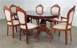 Sale 9210 - Lot 1001 - Mahogany marquetry inlaid dining table with set of 6 chairs (table - h:76.5 w:199 d:109cm)