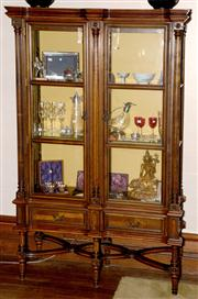 Sale 8015A - Lot 99 - A Vintage Walnut and Beech wood shaped front & sides double glazed door display cabinet with glazed sides.