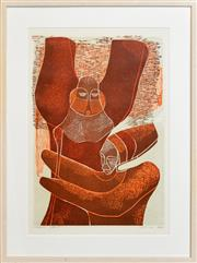 Sale 8296A - Lot 29 - Lucky Sibiya (1942 - ) - Untitled (Two Figures) 62 x 42cm
