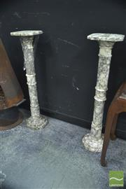 Sale 8289 - Lot 1010 - Pair of Carrara Marble Columns, Italy (574)