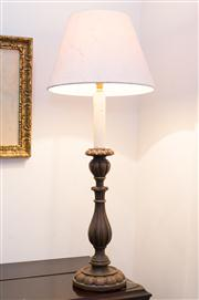 Sale 8308A - Lot 17 - A pair of good quality timber base Italian style lamps with fabric shades, height 68cm