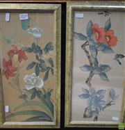 Sale 8578T - Lot 2029 - Pair of Chinese Watercolour Paintings on Silk, 44 x 24cm, each (frame size)