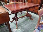Sale 8617 - Lot 1047 - Victorian Walnut Occasional Table, the rectangular top on turned supports with stretcher & outswept legs